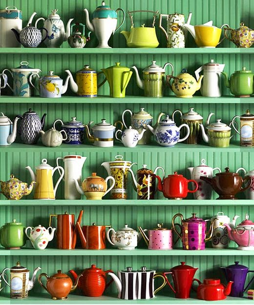 lovely emerald shelf with colorful tea pots