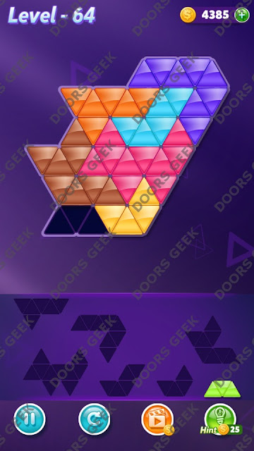 Block! Triangle Puzzle 7 Mania Level 64 Solution, Cheats, Walkthrough for Android, iPhone, iPad and iPod