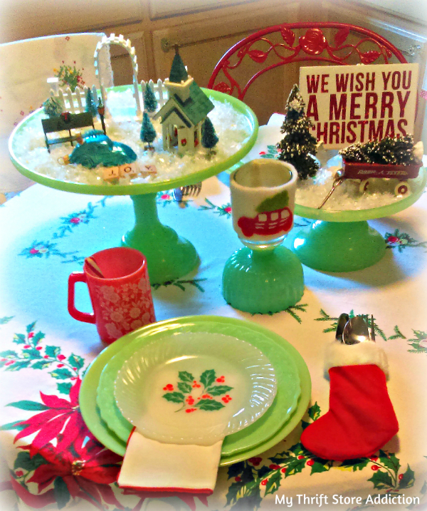 cake stand Christmas village centerpiece