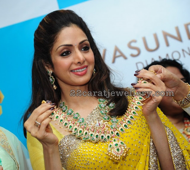 Sridevi Kapoor Showcasing Diamond Mango Mala