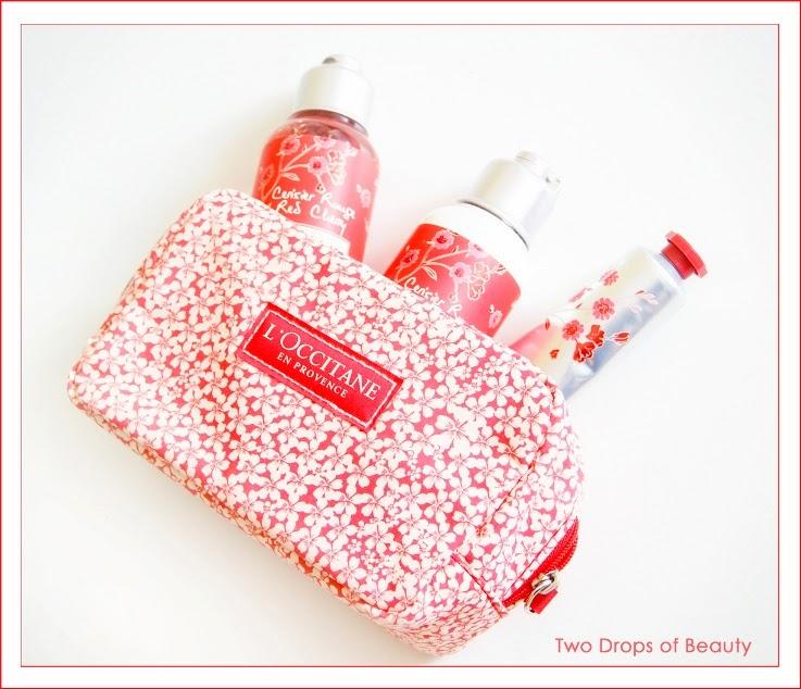 L'Occitane, cosmetic bag red cherry,  Body lotion, hand cream, shower gel, косметичка, французская косметика, крем для рук, гель для душа, лосьон для тела