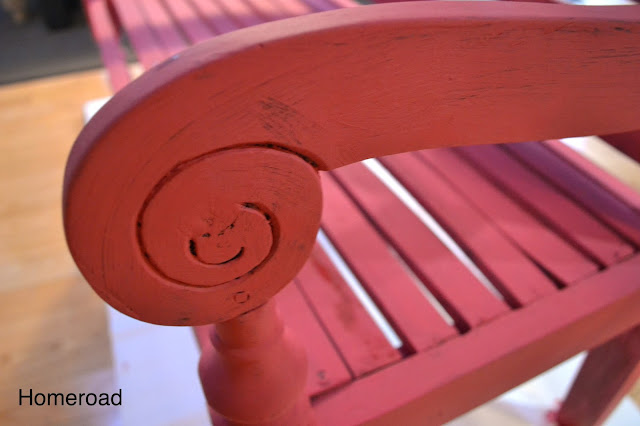 The red chalky paint on this bench matched the chairs perfectly after using dark wax.