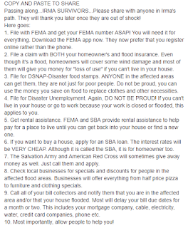 Advice to Those Affected by Hurricane Irma in Florida