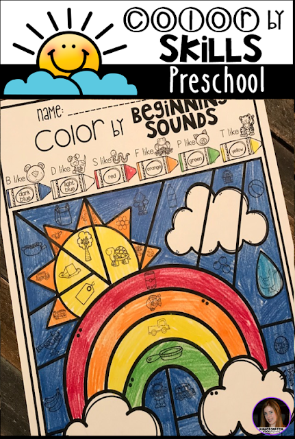 The boys and girls will work on beginning sound matching with Color by Beginning Sounds.