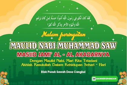Contoh Spanduk Backdrop Maulid Nabi Muhammad SAW cdr 2018