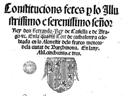 Fernando II lo Católic al 1503 promulgue les Constitucions de Catalunya y a la portada figure lo escut de los Reys en l´áliga de San Juan. Perque ere un facha.