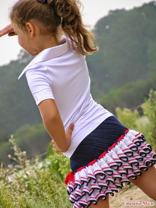 patrones de pollera crochet con volados