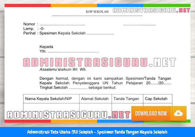 Contoh Spesimen Tanda Tangan Kepala Sekolah Administrasi Tata Usaha Sekolah Terbaru Tahun 2015-2016.doc