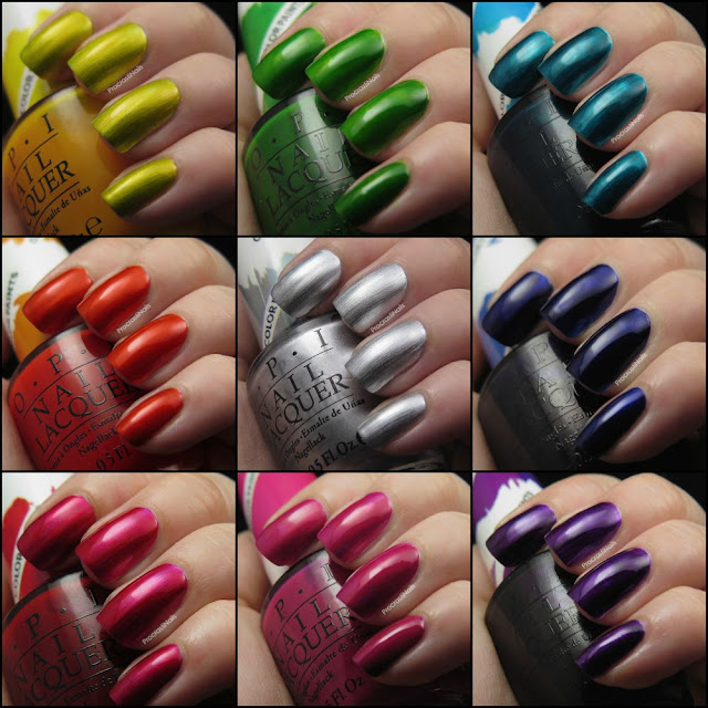 Collage of swatches of OPI Silver Canvas, Purple Perspective, Indigo Motif, Turquoise Aesthetic, Landscape Artist, Primarily Yellow, Chromatic Orange, Magenta Muse and Pen & Pink.