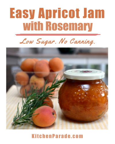 Easy Apricot Jam with Rosemary ♥ KitchenParade.com, a small batch with just five ingredients, rustic and barely sweet. No canning required.