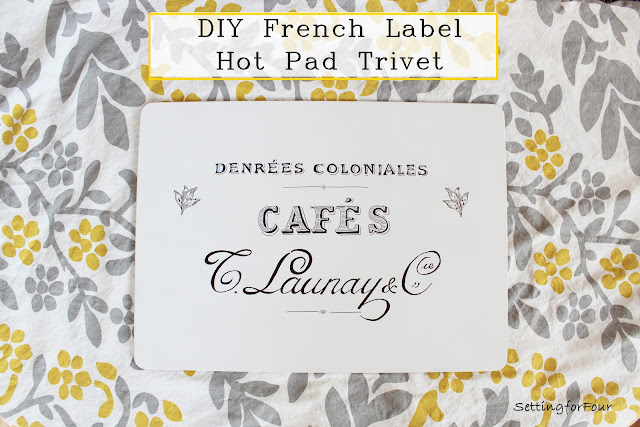 Make this easy DIY trivet potholder for your kitchen to protect your table from hot pots and casserole dishes! It has a beautiful vintage French graphic. See the tutorial and supply list to make it for your home and for gifts!