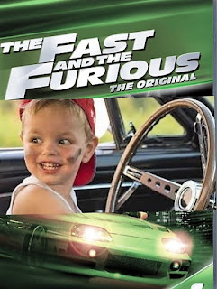 cartel de thre fast and the furious con un niño al volante