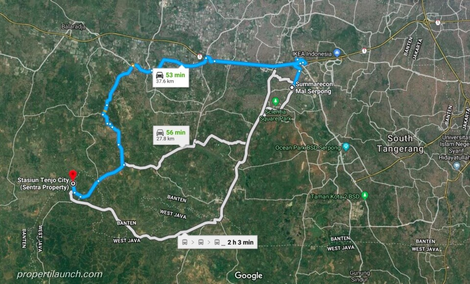 Lokasi Tenjo City ke SMS Serpong