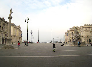 The Piazza dell'Unita in Trieste looking out towards the sea