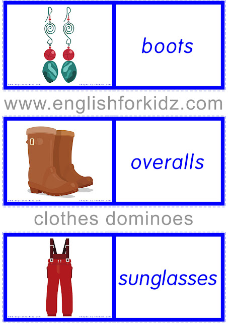 Dominoes for ESL -- clothing and accessories topic