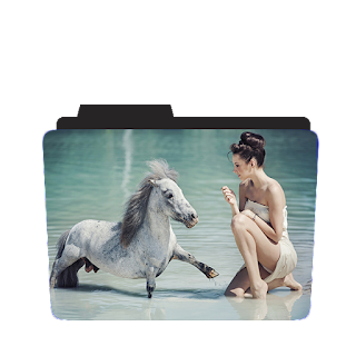 Preview of Girl , baby horse, River icon