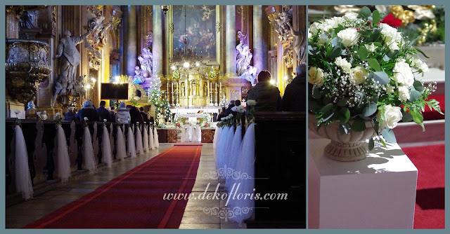Biała dekoracja ślubna kościoła Wrocław
