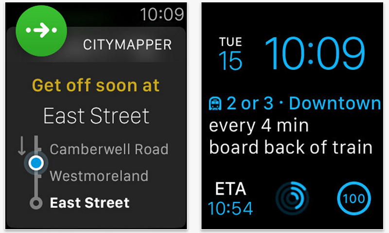 Citymapper Apple Watch app