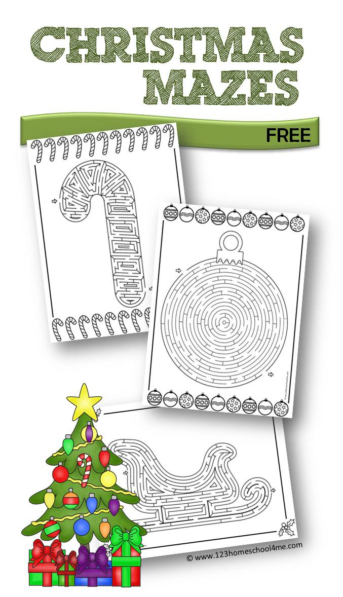 FREE Christmas Mazes – Free Christmas Worksheets