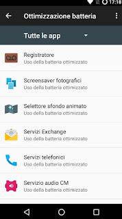menu Ottimizzazione batteria