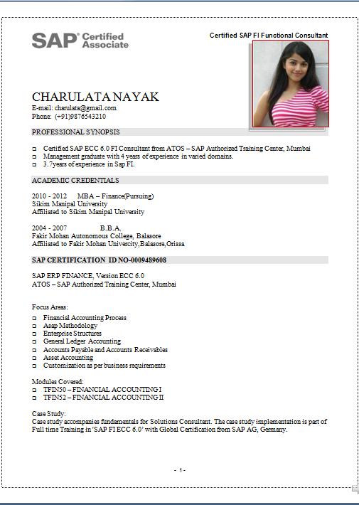 Sap Pi Sample Resume | Free Blank Certificate Templates
