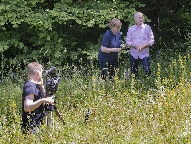 Irene Palmer and Tony Robinson being filmed on Downe Bank.  6 July 2016.