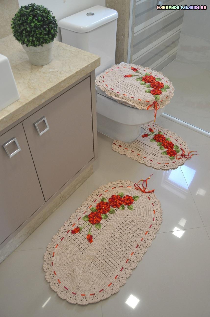 Комплект ковриков крючком для ванной (1)