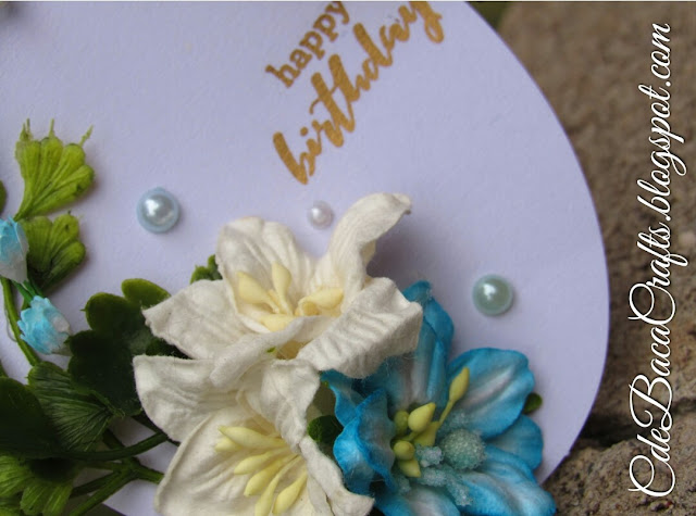 Handmade happy birthday gift tags with flowers and leaves at CdeBaca Crafts Blog