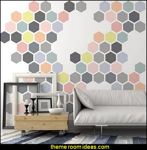 Honeycomb Allover Wall Stencil  bumble bee bedrooms - Bumble bee decor - Honey bee decor - decorating bumble bee home decor - Bumble Bee themed nursery - bee wallpaper mural decals - Honeycomb Stencil - hexagonal stencils - bees in springtime garden bedroom -  bee themed nursery - black yellow bedroom ideas - Hexagon pattern -