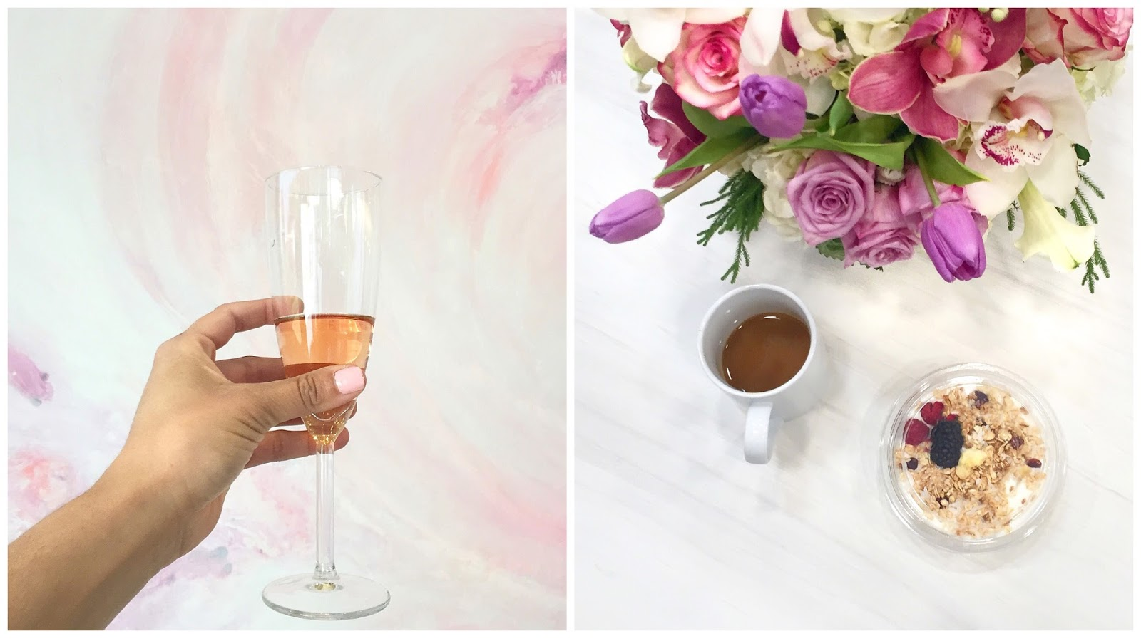 champagne toast, pretty flowers, breakfast with bloggers, digital influencer luncheon