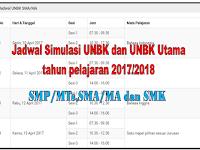 Jadwal Simulasi dan UNBK Utama SMP/SMA/SMK/MA tahun pelajaran 2017/2018