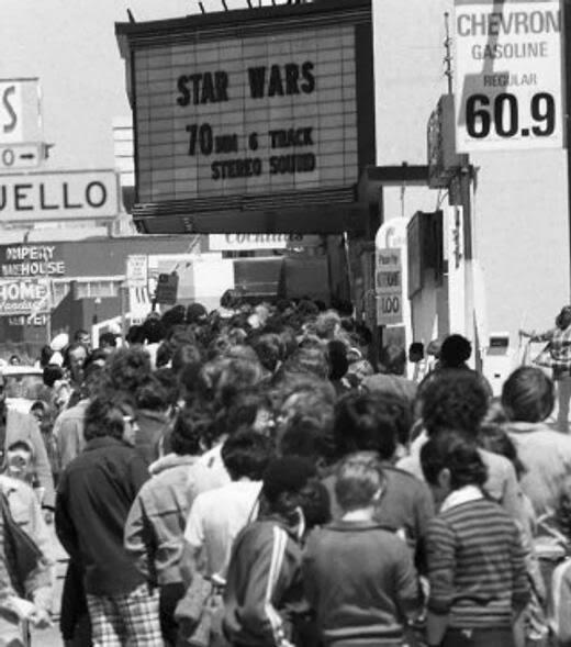 Fans Queueing to see Star Wars in 1977