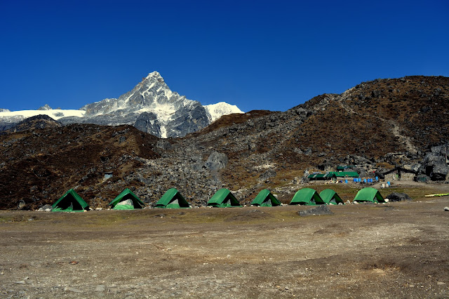 Frey Peak from HMI Base Camp at Chaurikhang