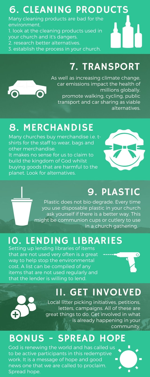 11 Ways To Make Your Church More Environmentally Friendly infographic Part 2
