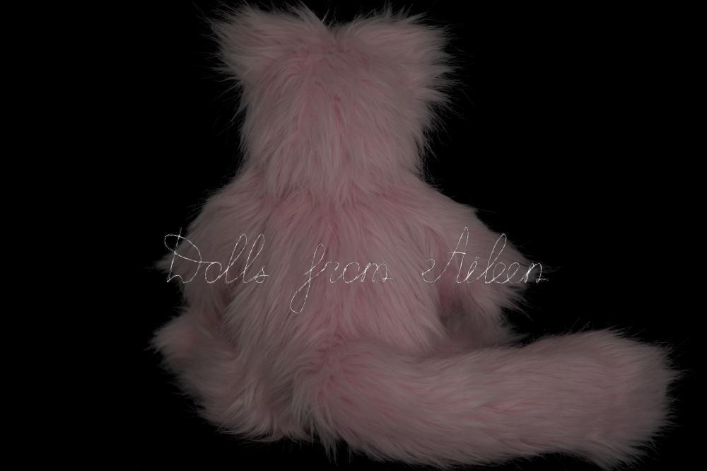 ooak artist kitten teddy doll, view from behind