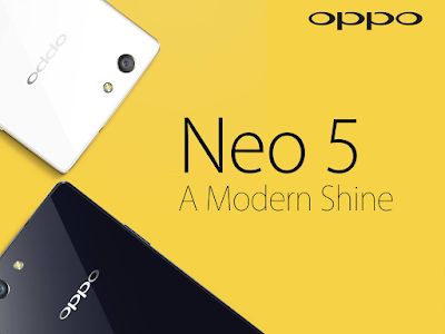Oppo Neo 5 Specifications - LAUNCH Announced 2015, June DISPLAY Type IPS LCD capacitive touchscreen, 16M colors Size 4.5 inches (~64.6% screen-to-body ratio) Resolution 480 x 854 pixels (~218 ppi pixel density) Multitouch Yes  - Color OS v2.0.1 BODY Dimensions 131.9 x 65.5 x 8 mm (5.19 x 2.58 x 0.31 in) Weight 135 g (4.76 oz) SIM Dual SIM (Nano-SIM/ Micro-SIM) PLATFORM OS Android OS, v4.4.2 (KitKat) CPU Quad-core 1.3 GHz Cortex-A7 Chipset Mediatek MT6582 GPU Mali-400MP2 MEMORY Card slot microSD, up to 32 GB (dedicated slot) Internal 8 GB, 1 GB RAM CAMERA Primary 8 MP, autofocus, LED flash Secondary 2 MP Features Geo-tagging, touch focus, face detection, HDR, panorama Video 720p@30fps NETWORK Technology GSM / HSPA 2G bands GSM 850 / 900 / 1800 / 1900 - SIM 1 & SIM 2 3G bands HSDPA 2100 - Vietnam, India, Indonesia, Bangladesh, Morocco, AlgeriaIran  HSDPA 850 / 900 / 2100 - Other regions Speed HSPA GPRS Yes EDGE Yes COMMS WLAN WLAN Wi-Fi 802.11 b/g/n, hotspot GPS Yes, with A-GPS USB microUSB v2.0, USB Host Radio  Bluetooth v4.0, A2DP FEATURES Sensors Accelerometer, proximity, compass Messaging SMS (threaded view), MMS, Email, Push Email Browser HTML5 Java No SOUND Alert types Vibration; MP3, WAV ringtones Loudspeaker Yes 3.5mm jack Yes BATTERY  Non-removable Li-Po 2000 mAh battery Stand-by  Talk time  Music play  MISC Colors Blue, White SAR US - MP4/H.264/FLAC player - MP3/eAAC+/WAV player - Document viewer - Photo viewer/editor