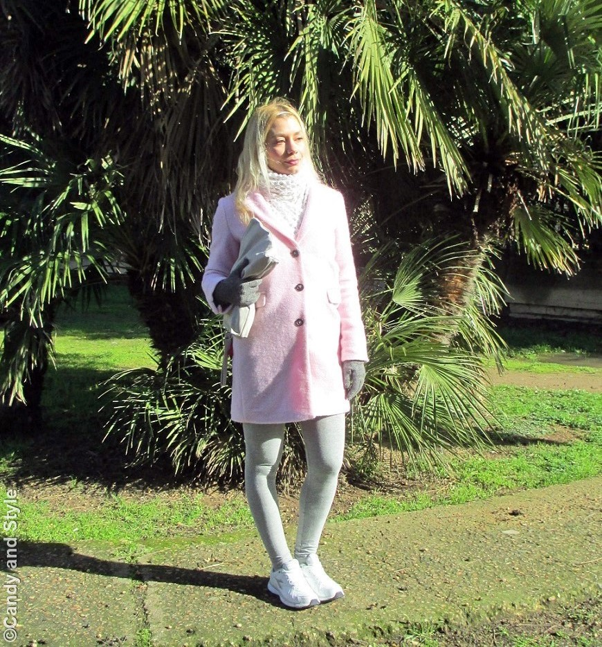 PinkCoat+WhiteWoolenScarf+GreyLeggings+WhiteTrainers+GreyPouch+SilverHeadband - Lilli Candy and Style Fashion Blog