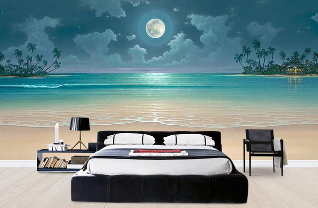 Tropiikki Tapetti Ranta Rannat Maisematapetti Luonto Kuu Makuuhuone