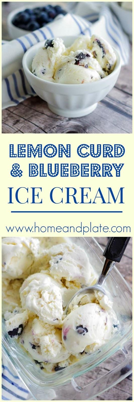 Lemon Curd  Blueberry Ice Cream