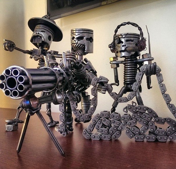 Evil pistons art sculptures