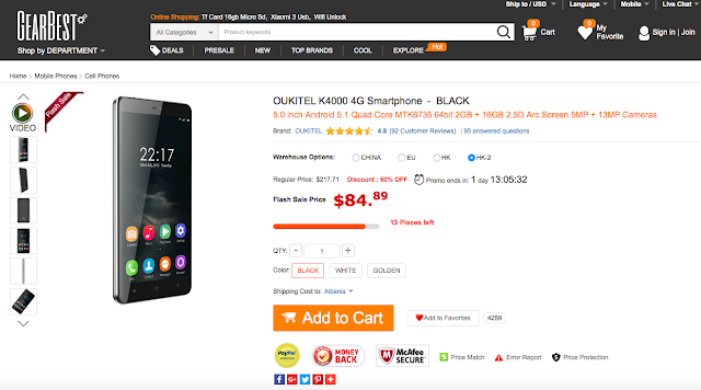 New improved edition of Oukitel K4000 now available for a price of $86.99 on Gearbest