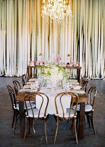 wedding reception wall ribbon backdrop