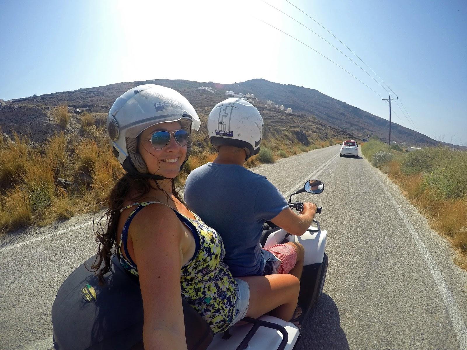 Couple on Quad biking around Santorini