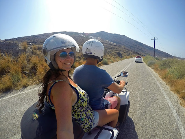 Couple on Quad biking around Santorini