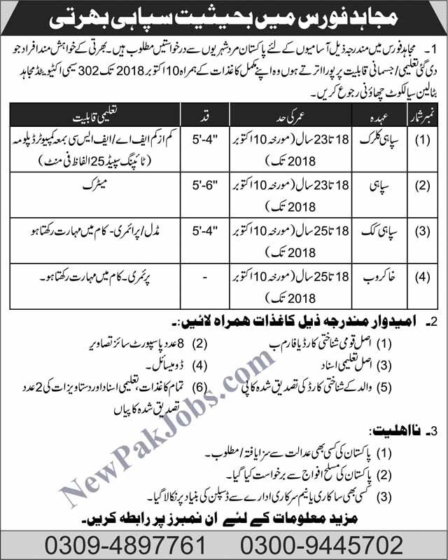 Mujahid-force-jobs-october-2018