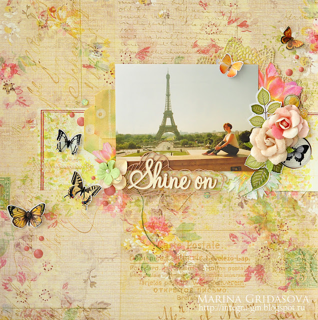 Shine on @akonitt #prima #primamarketing #lindys #lindysstampgang #scrapiniec #by_marina_gridasova #layout #flowers #chipboard