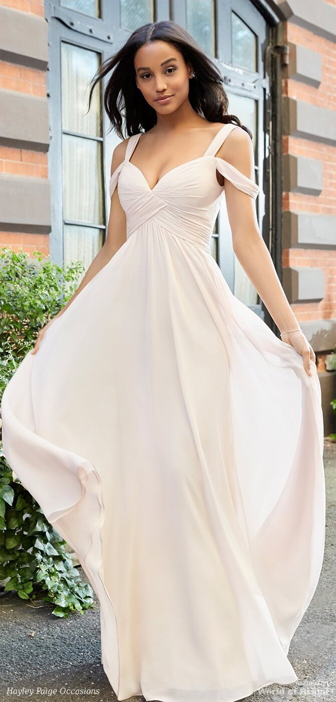 Hayley Paige Occasions Spring 2018 Blush Chiffon over Cashmere lining A-line bridesmaid gown