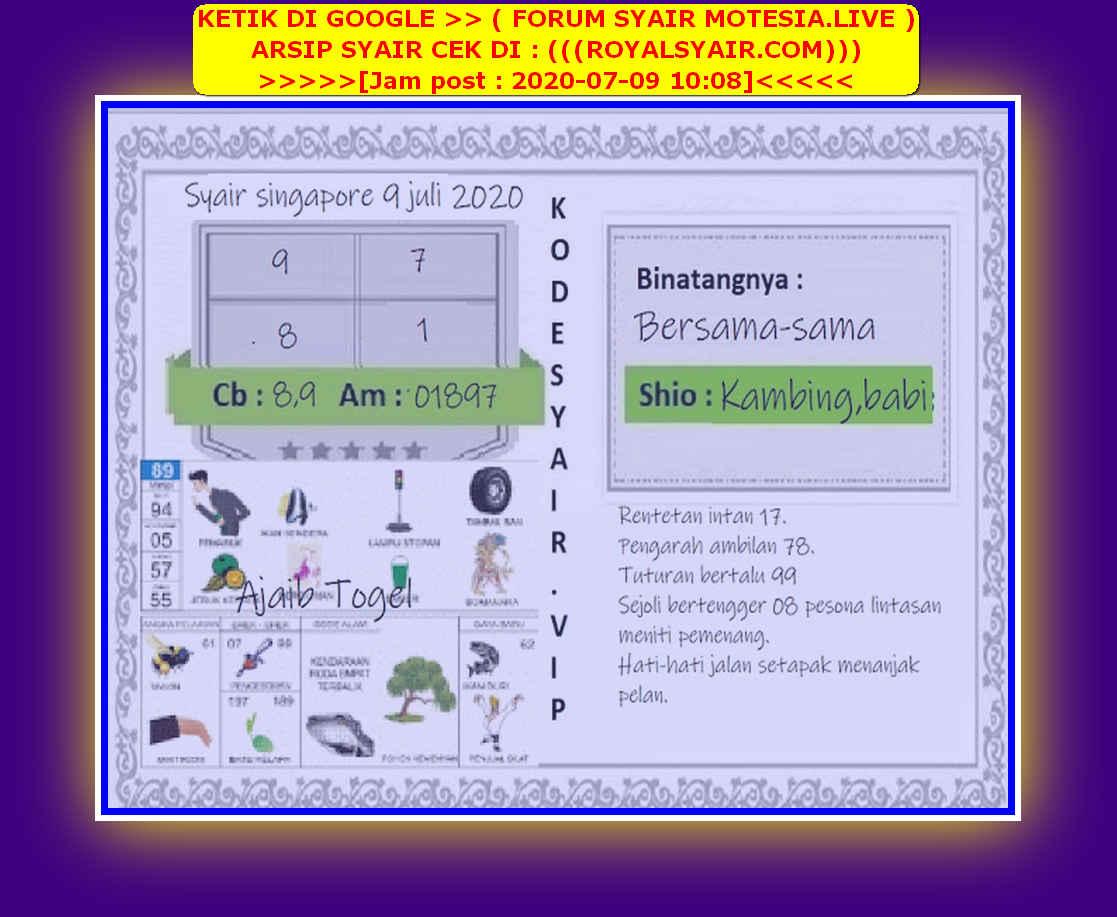 Kode syair Singapore Kamis 9 Juli 2020 138
