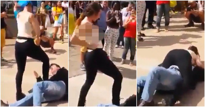 A Woman Attacks A Man With Her Breasts After He Has Harassed Her