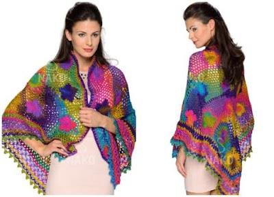 Chal Multicolor con motivos instrucciones crochet